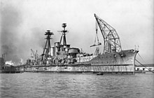 Haruna in the final phases of her construction, with her main guns being attached to the bow turrets