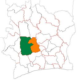 Location of Haut-Sassandra Region (green) in Ivory Coast and in Sassandra-Marahoué District