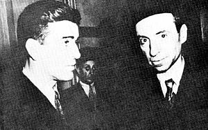 Arab Socialist Ba'ath Party – Syria Region - Akram al-Hawrani (left) with Michel Aflaq as seen in 1957.