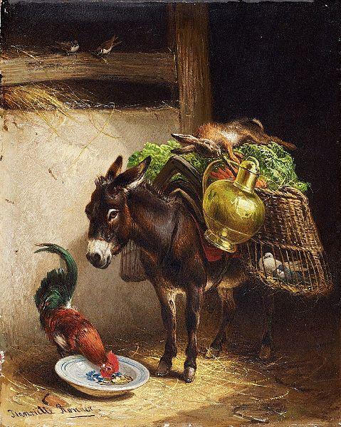 File:Henriette Ronner-Knip Esel und Hahn im Stall.jpg