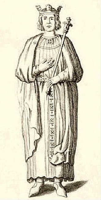 Henry the Young King - Drawing of the recumbent statue in Rouen Cathedral destroyed in 1733; from Livre du Millénaire de la Normandie (1911, after a drawing of c. 1700).