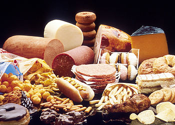 English: A display of high fat foods such as c...