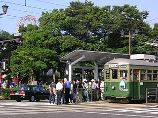 Genbaku Dome-mae Station tram station in Hiroshima, Hiroshima prefecture, Japan
