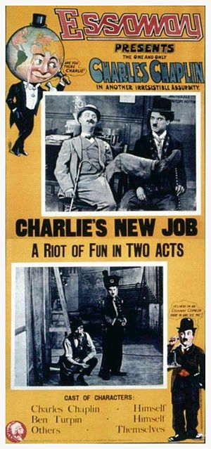 Chicago film industry - Advertisement for His New Job featuring Charlie Chaplin