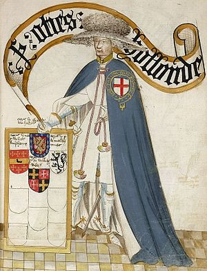 "Otho Holand - Sir Otho Holland, KG, shown wearing his garter robes over his tunic. Illustration from the 1430 ""Bruges Garter Book"" made by William Bruges (1375–1450), first Garter King of Arms"