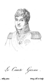 Sketch of a wavy-haired man in a high-collared military uniform with epaulettes.
