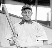 A man in a dark baseball cap and white shirt with a dark collar holds a baseball bat in both hands.