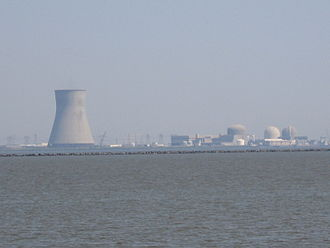Salem Nuclear Power Plant - The entire PSEG nuclear complex as seen from Augustine Beach, Delaware.