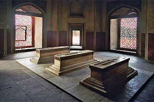 Hamida Banu Begum - Cenotaph of Hamida Banu Begum along with that of Dara Shikoh and others, in a side chamber of Humayun's Tomb, Delhi.