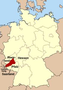 Lage des Hunsrücks in Deutschland
