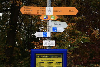 E1 European long distance path - Hiking sign at Hurden