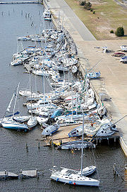 Hurricane Ivan sank and stacked numerous boats at Bayou Grande Marina at Naval Air Station Pensacola, Florida.