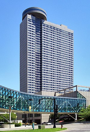 Sheraton Kansas City Hotel at Crown Center - Sheraton Kansas City Hotel with glass skyway connection to Crown Center.