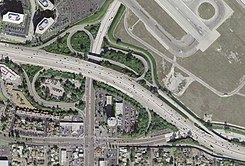Aerial photo of the 405 intersection with California Highway 19.