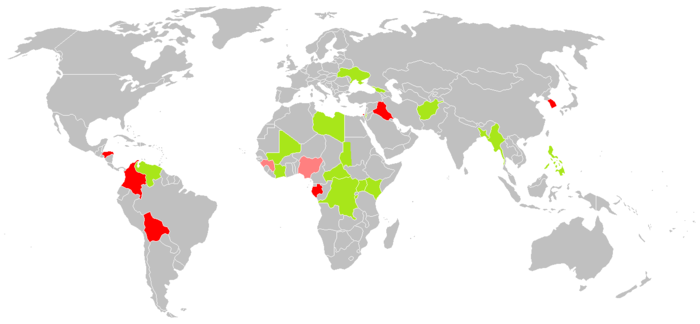 Map of countries where the ICC is currently investigating situations