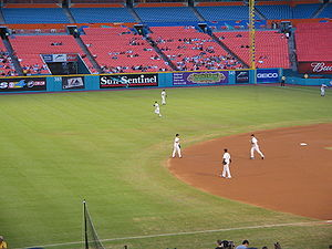 History of the Miami Marlins - 2006 Rebuilt Marlins taking the field in front of a sparse crowd. (counter clockwise) Hermida, Ross, Uggla, Ramírez, and Willingham