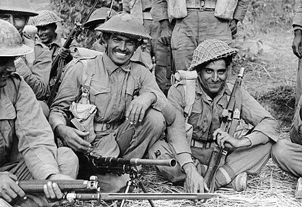 An Indian infantry section of the 2nd Battalion, 7th Rajput Regiment about to go on patrol on the Arakan front, 1944 INDIAN TROOPS IN BURMA, 1944.jpg