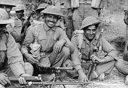 Indian infantrymen of the 7th Rajput Regiment about to go on patrol on the Arakan front in Burma, 1944. INDIAN TROOPS IN BURMA, 1944.jpg