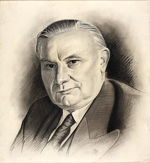 Ernest Bevin - Sketch of Bevin commissioned by the Ministry of Information in the World War II period