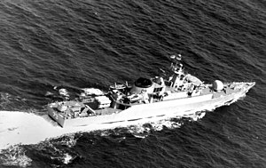 A starboard quarter view of the Iranian frigate ITS Rostam (DE-73), later renamed IS Sabalan (F-73).