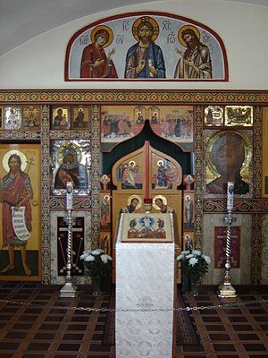 Analogion - Analogion, vested in white, at New Valamo monastery in Heinävesi, Finland.