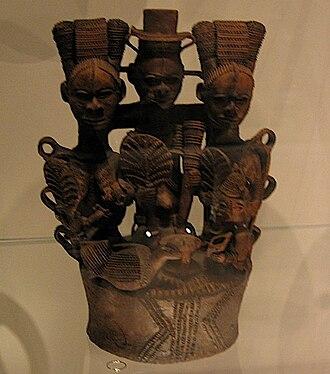 Igbo culture - Igbo ceramic altar for the new yam festival.