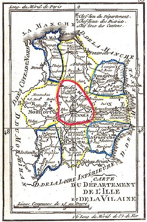 Roman Catholic Archdiocese of Rennes, Dol and Saint-Malo - Map of Departement of Ille-Vilaine, centered on Rennes (Brittany)