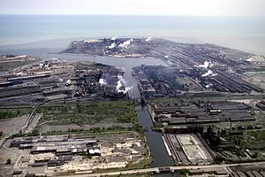 Inland Steel Company - The Indiana Harbor works in East Chicago, Indiana can be seen on the peninsula that extends out into Lake Michigan