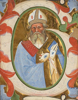 Belbello da Pavia - Initial G: Saint Blaise; Master of the Murano Gradual; Venice or Lombardy, Italy; about 1450–1460; tempera and gold on parchment