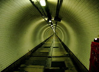 Greenwich foot tunnel - Inside the tunnel, prior to its renovation