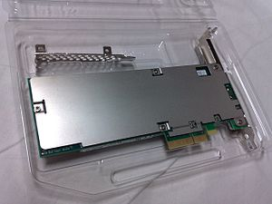 NVM Express - Intel SSD 750 series, an SSD that uses NVM Express, in form of a PCI Express 3.0 ×4 expansion card (front and rear views)