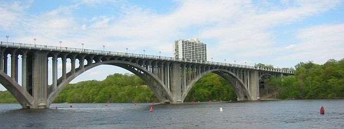 Intercity Bridge spanning the Mississippi River in Minneapolis, Minnesota.