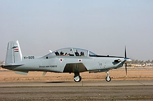 52d Expeditionary Flying Training Squadron - An Iraqi Air Force T-6A lands at COB Speicher, Tikrit, Iraq.