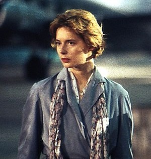 Isabella Rossellini - Rossellini on location at Tempelhof Airport in Berlin to shoot some scenes for the film The Innocent, 1992