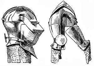 Armet - Construction of a classic armet (c. 1490), it is fitted with a wrapper and aventail, and the method of opening the helmet is shown