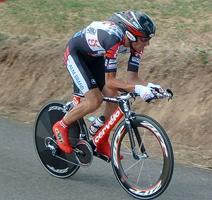 Cervélo - Italian cyclist Ivan Basso of CSC riding his Cervélo P3C time-trial bicycle during stage 20 (ITT) of the 2005 Tour de France.