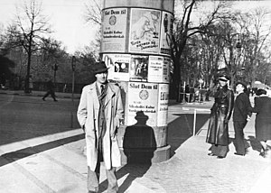 Danish resistance movement - An American pilot in occupied Copenhagen is watched over by the Danish resistance. March, 1945.