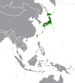 Map indicating locations of Japan and Taiwan