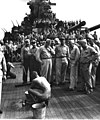 "Japanese prisoners of war are bathed, clipped, ""deloused,"" and issued GI clothing as soon as they are taken aboard the USS NEW JERSEY HD-SN-99-02964.jpg"