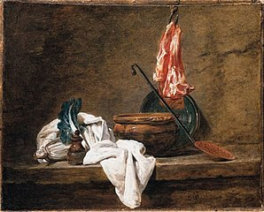 Still Life with Dishcloth, a Pot, a Plate, a Skimmer and Meat on a Hook