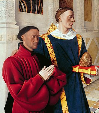 Jean Fouquet - Left wing of the Melun Diptych depicts Etienne Chevalier with his patron saint St. Stephen. Gemäldegalerie, Berlin.