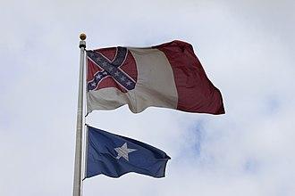 Modern display of the Confederate battle flag - 3rd Flag of the Confederacy and the Bonny Blue Flag at Jefferson Davis Park, Washington, 2018