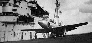 Early jet plane landing on HMS Illustrious in ...