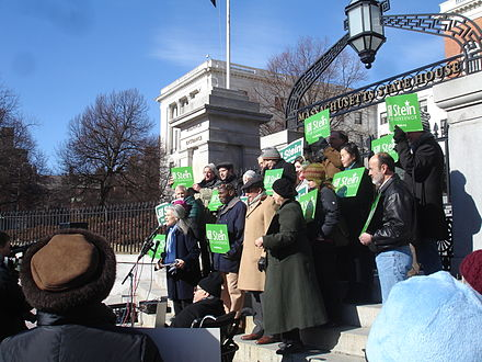 Jill Stein announcing her candidacy for governor in February 2010 Jill Stein Candidacy Rally February 2010.JPG