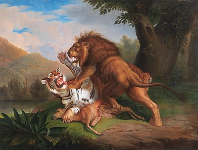 Johann Wenzel Peter - Tiger and Lion fight over a Fawn (1809).jpg