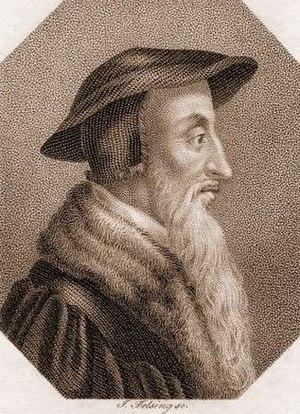 Johann Conrad Felsing - John Calvin, dotted engraving by Felsing