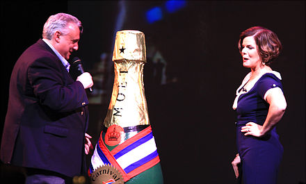 Marcia Gay Harden with John Heald on the cruise ship Carnival Dream in November 2009 John Heald introduces actress Marcia Gay Harden on Carnival Dream.jpg
