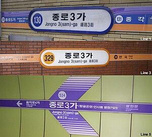 Jongno 3-ga Station - Image: Jongro 3ganame
