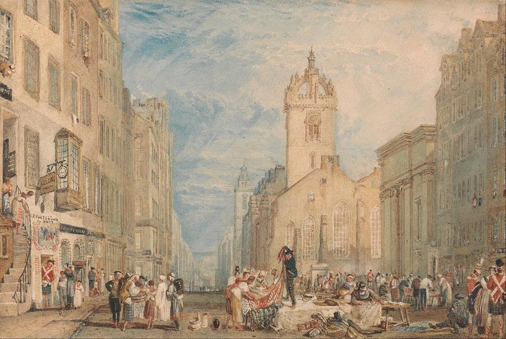 Cathédrale d'Edimbourg sur High Street vers 1820. Tableau de J. M. W. Turner