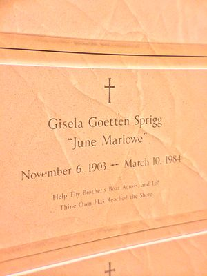 June Marlowe - Crypt of June Marlowe at the Los Angeles Cathedral